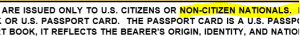 "Screenshot of U.S. Passport Application: ""ARE ISSUED ONLY TO U.S. CITIZENS OR NON-CITIZEN NATIONALS...."""