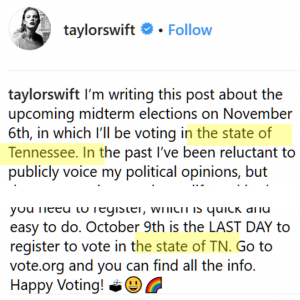 Excerpt from Taylor Swift instagram post