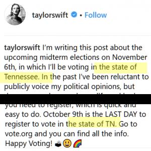 Excerpt from Taylor Swift instagram post
