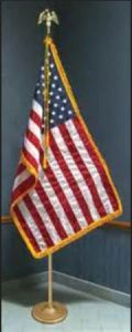 USA flag with horizontal stripes and gold fringe trim