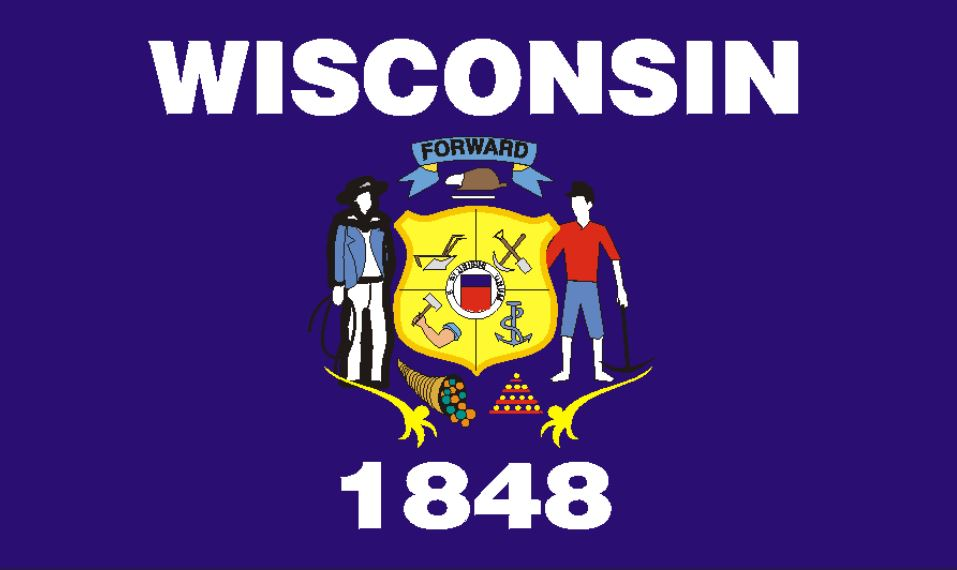 Wisconsin state flag. With the words 'Wisconsin' and '1848' and the coat of arms