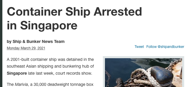 Container ship arrested in Singapore