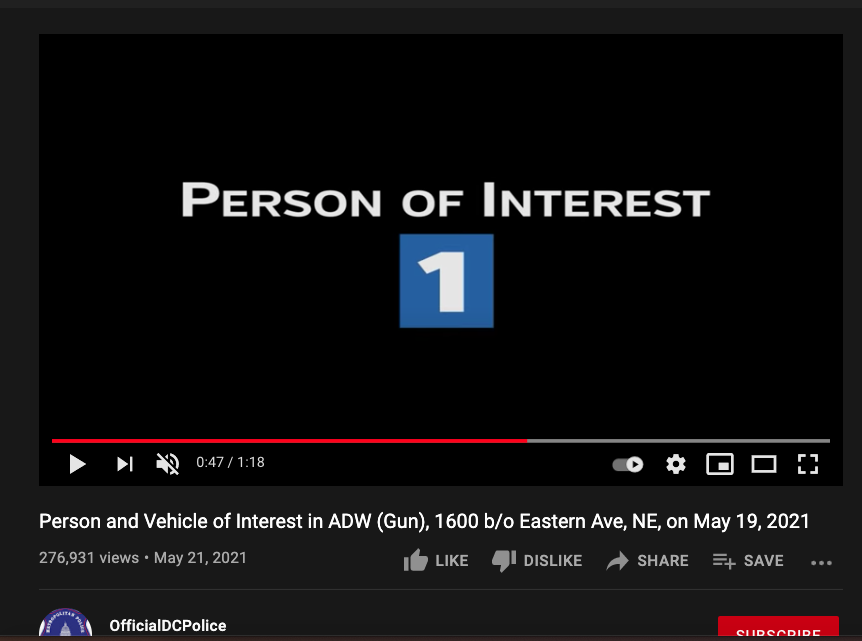 Person of Interest - 1 - from youtube video by police dept